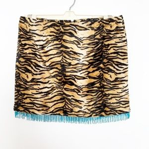 GUESS Faux Tiger Mini Skirt with Turquoise Beads